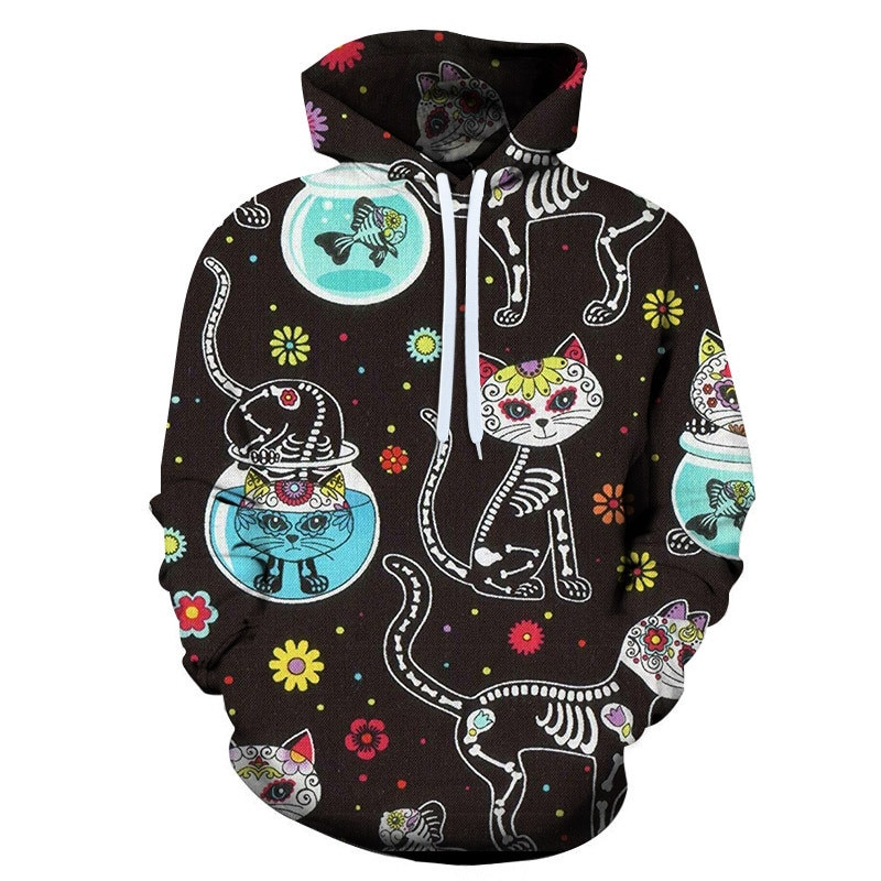 3d Hoodies Men Hooded Sweatshirts Two Cat 3d Print Hoody Casual Pullovers Streetwear Tops Autumn Regular Hipster Hip Hop