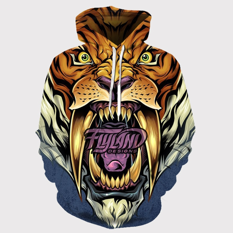 3d Printed Tigers Mouth Hoodies Animal Face Hoody Mens Womens Hoodie Saber Toothed Tiger Sportswear Street Fashions Gym