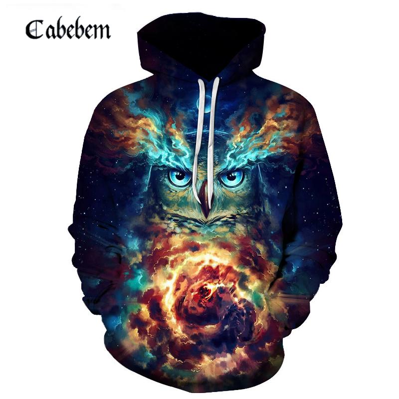 3d Printing Hoodie Animal Owl Sweatshirt Novelty Street Clothing Unisex Long Sleeved Coat Hoodie