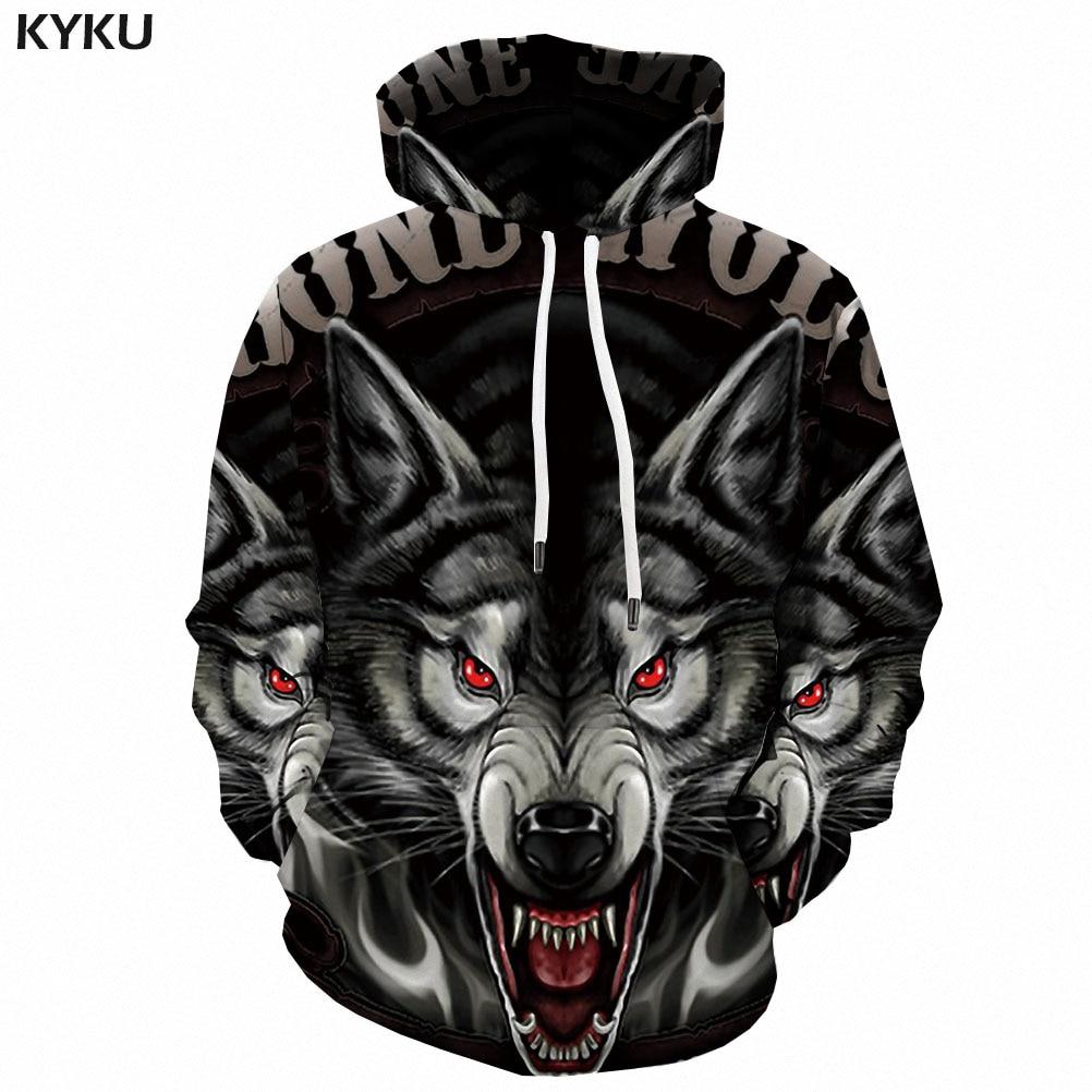3d Hoodies Wolf Hoodie Men Ferocious Sweatshirt Printed Animal Hooded Casual Punk Hoody Anime Rock 3d Printed Mens Clothing