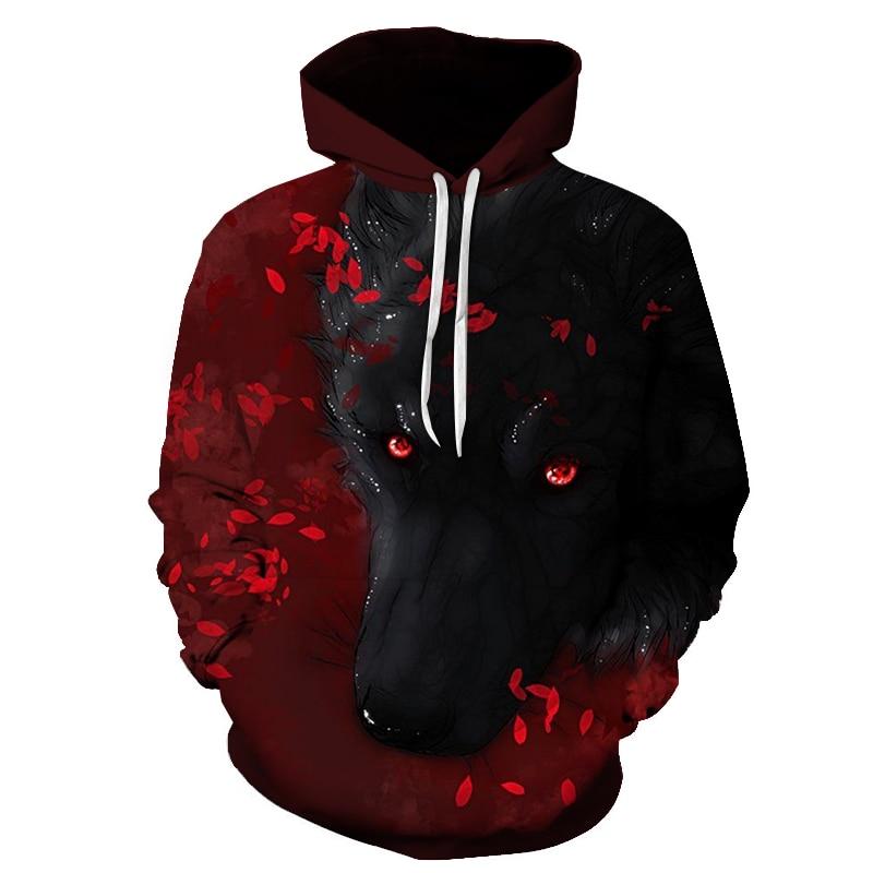 3d Wolf Flowers Hoodies Men Hooded Coats Animal Printed Hoodie Sweatshirts Tracksuits Man Women Jackets Funny Hoody Streetwear
