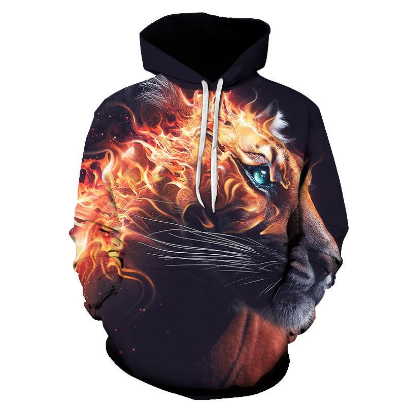 3d Print Flame Tiger Hoodie Men Sweatshirt Men Women Hoodies Pullover Novelty Casual Animal Coats 2