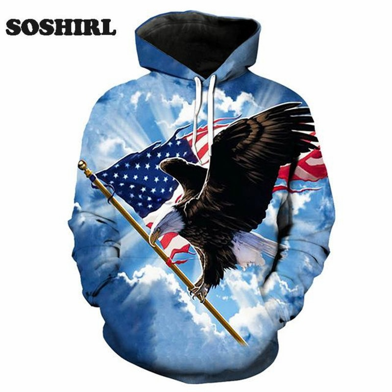 3d Eagle Hoody Fashion Animal Hooded Unisex Punk Pullovers Top Hoodes Longsleeve Outfit Funny