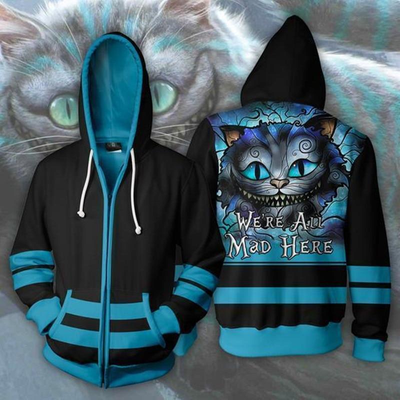 Alice In Wonderland Cheshire Cat Cosplay Costume Men Woman 3d Movie Hoodies Sweatshirt Jacket Hooded Top New