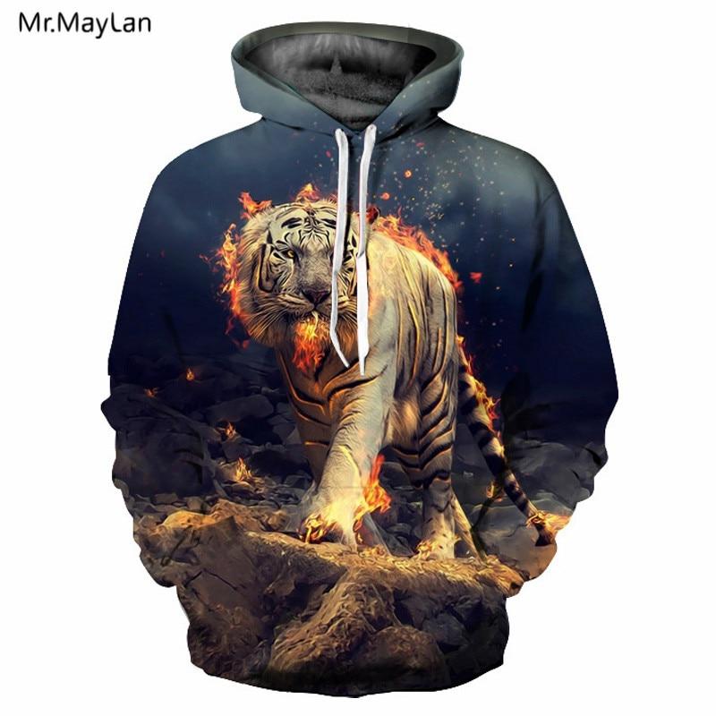 3d Print Burning Tiger Men Women Hooded Sweatshirts Hip Hop Thin Spring Autumn Hoodies Tops Jacket Tops 2