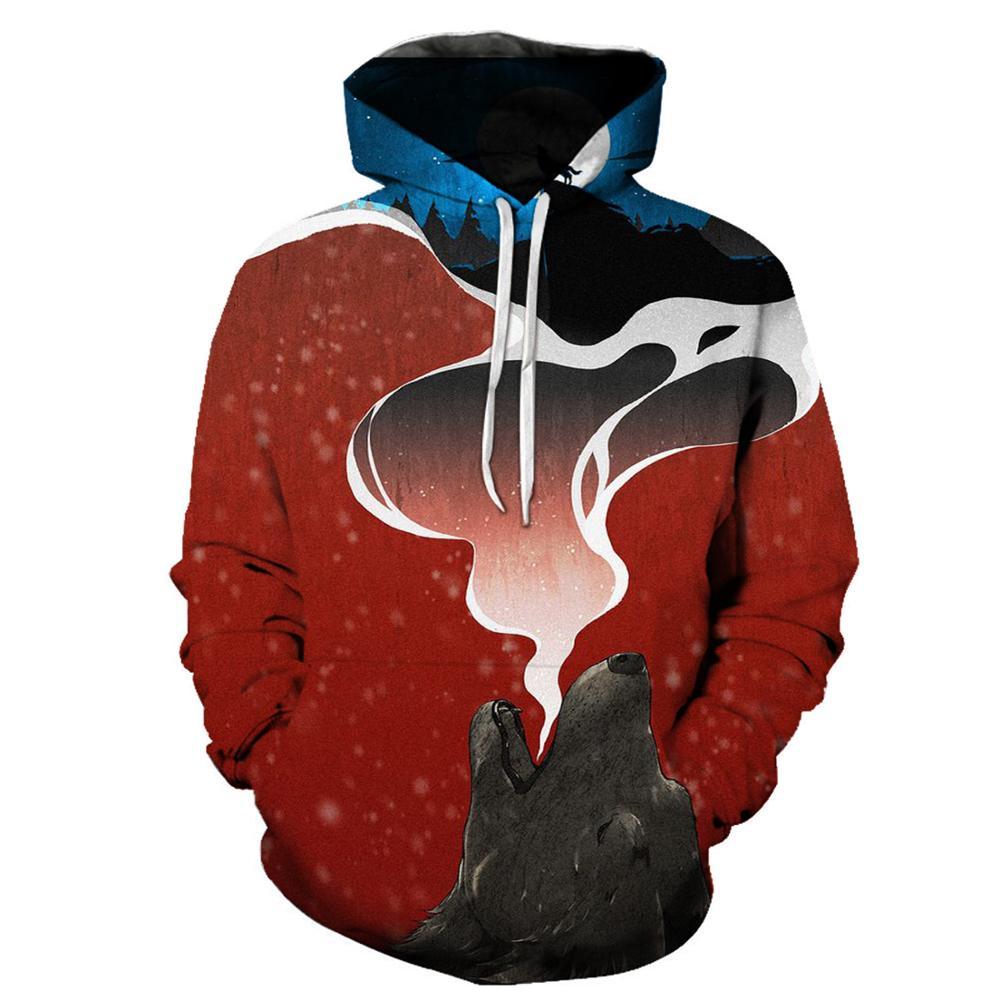3d Animal Hoodies Streetwear Mens Sweatshirts Wolf Printed Pullover Unisex Hooded Tracksuits Tops