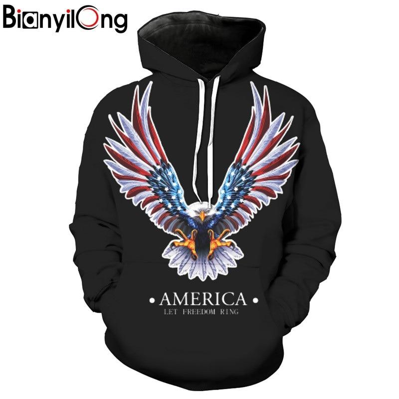 Air King Flyin Eagle Printed Hooded Sweatshirt Hooded Autumn Hoodies Tops Pullovers