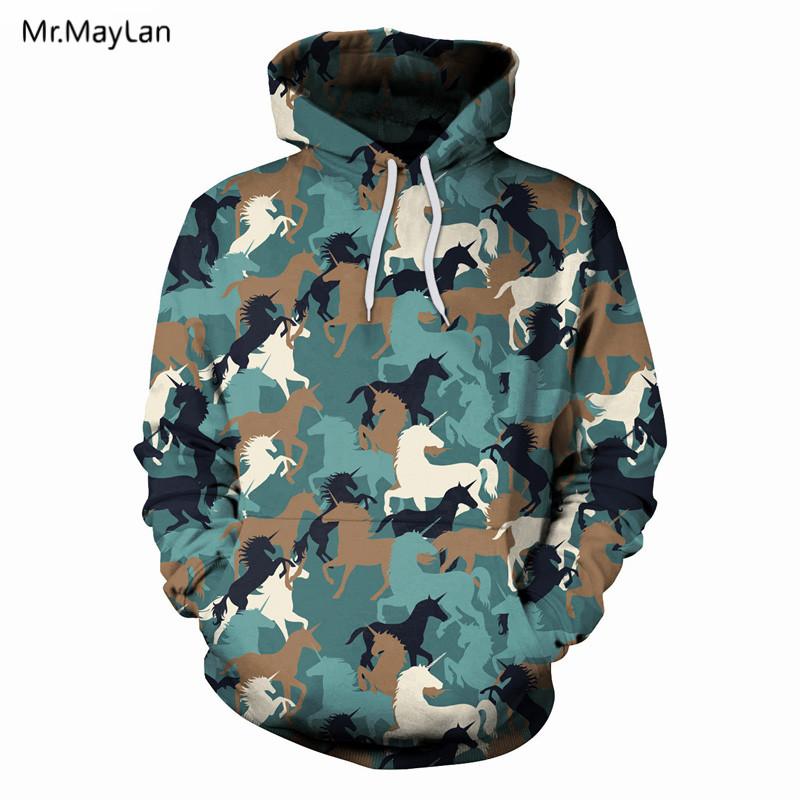 3d Print Animal Unicorn Camouflage Jacket Men Women Hipster Pullover Hood Sweatshirts Streetwear Outfits Boy Male Hoodies Coat