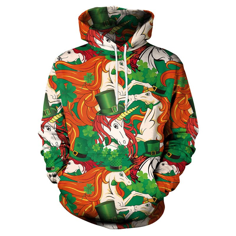 3d Unicorn Hoodie Sweatshirt Women Men Green Hoodies Streetwear Hip Hop Long Sleeve Casual Hooded Pullovers Outwear Coat