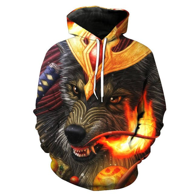 3d Men Hoodies Sweatshirts Fire Wolf Crown Double Side Print Fashion Spring Thin Pullover Tops