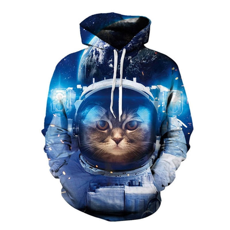 3d Space Cat Hoody Funny Galaxy Cool Hooded Unisex Women Men Pullovers Tops Fashion Outfit Hoodies Sweatshirts