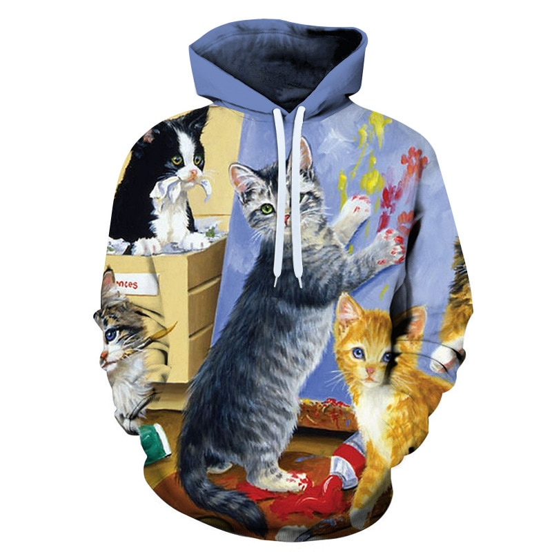 3d Printing Cute Cat Hoodies Men Women Printed Pullover Fashion Casual Tracksuits Male Coats Hooded Boy