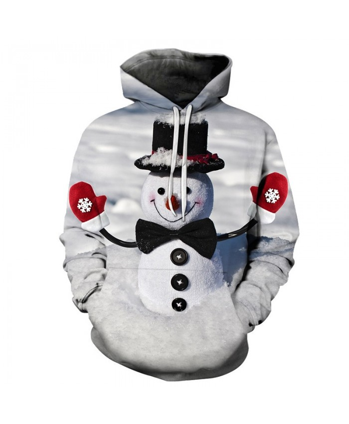 2020 Christmas Casual Fashion Pullover And Zippered Hoodies 3d  The Pattern Of Snowman With Hat And Gloves On Christmas Day Graphic Printed 3d Hoodie