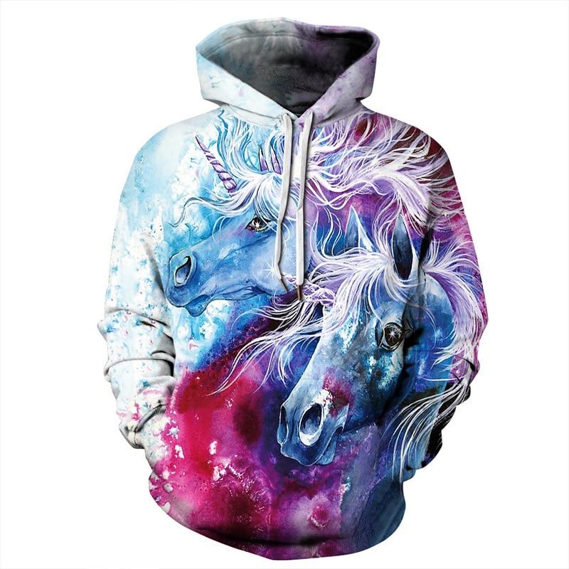 3d Print Hoodies Pullover Hooded Sweatshirts For Men Women Lovers Autumn Fashion Hip Hop Street Wear Blue Pink Horses