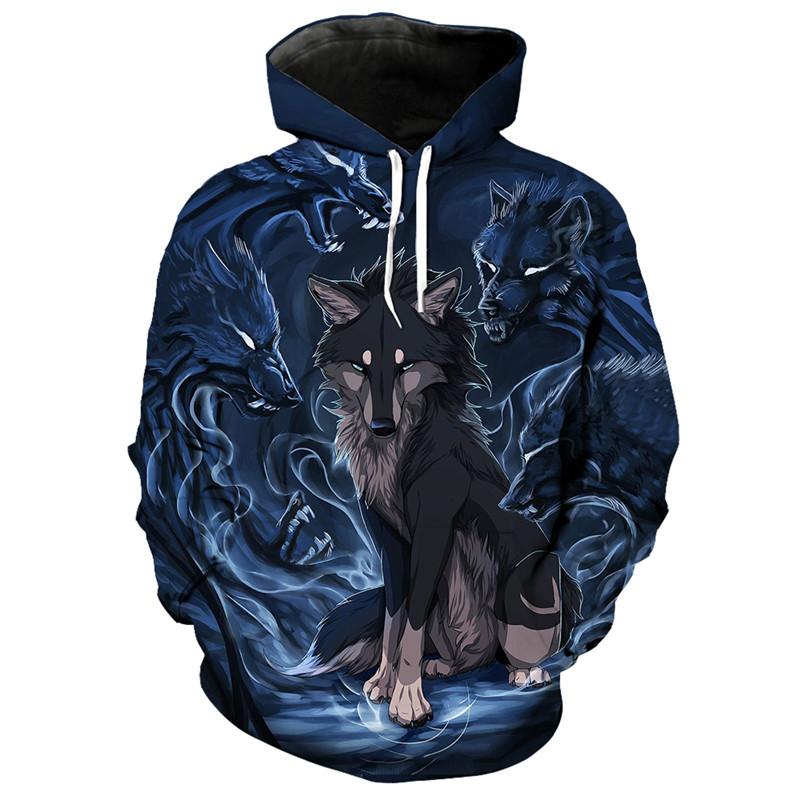3d Art Print Wolf Print Hoodie Wolf Of Darkness