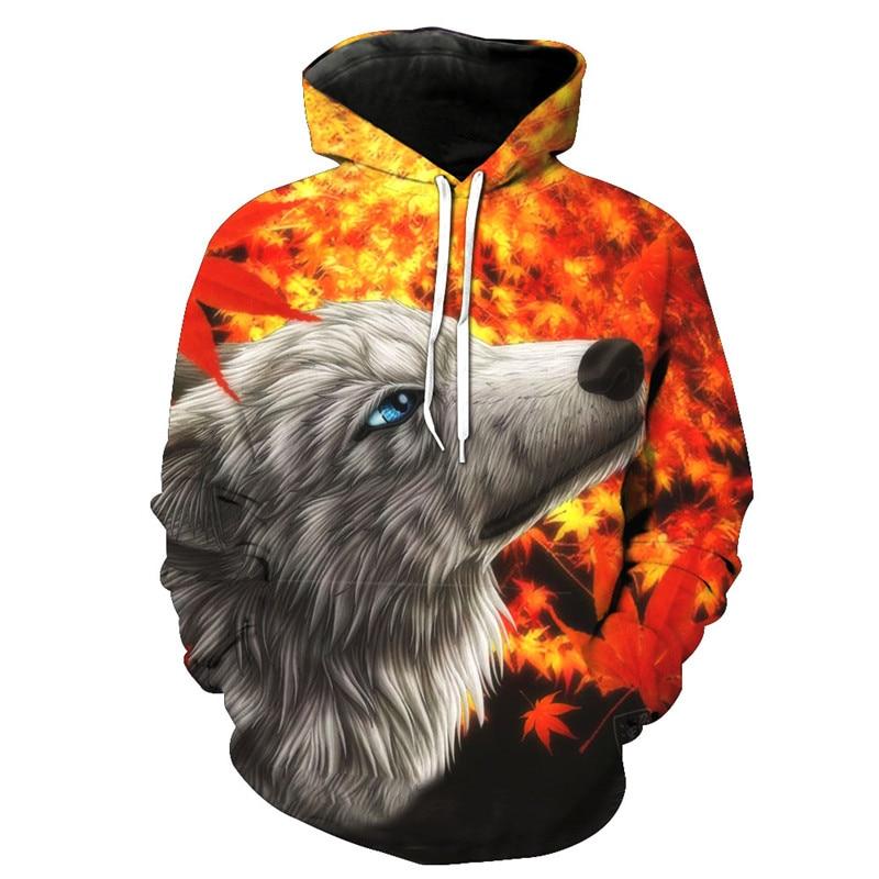 3d Art Print Wolf Print Hoodie Fire Wolf