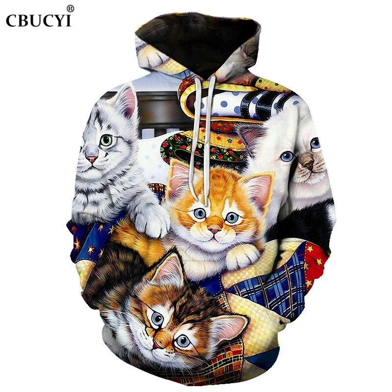 3d Hoodie Sweatshirt Flower Cat Print Hoodie Casual Pullover Streetwear Autumn Ordinary Hipster Hip Hop Hoodie