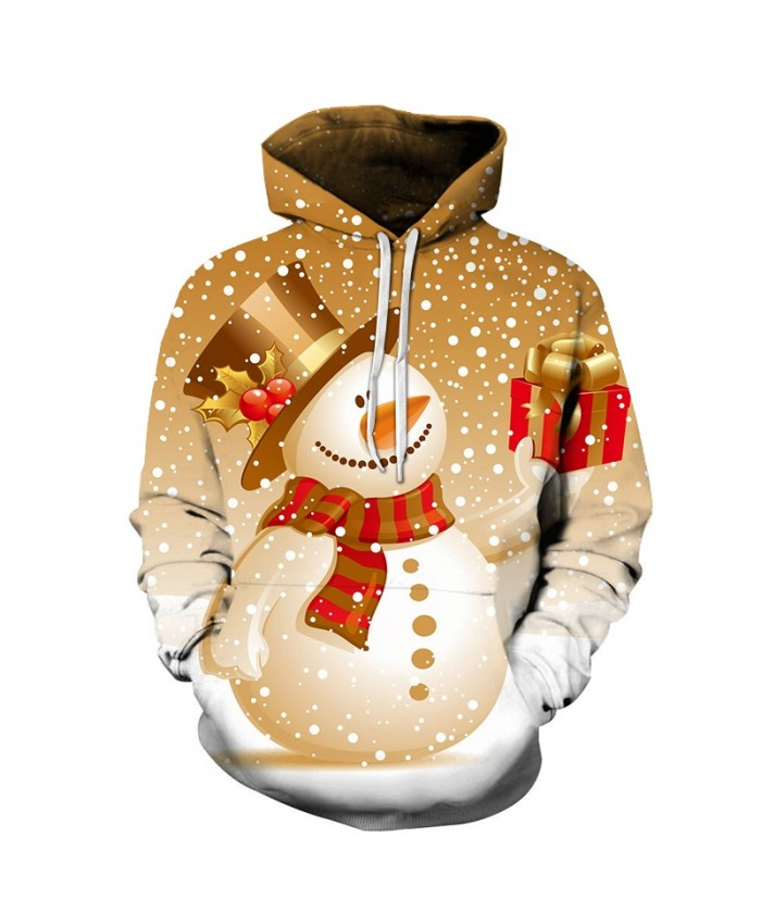 2020 Christmas Casual Fashion Pullover And Zip Pered Hoodies Custom 3d  Patterns Of Christmas Snowman Gifts Graphic Printed 3d Hoodie  All Over Print Hoodie For Men For Women