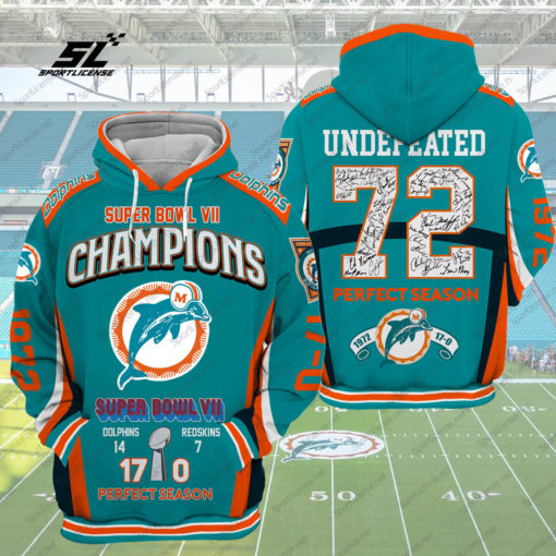 Super Bowl VII Champions Light Blue Men and Women 3D Full Printing Pullover Hoodie And Zippered. Super Bowl VII 3D Full Printing  Shirt 2020