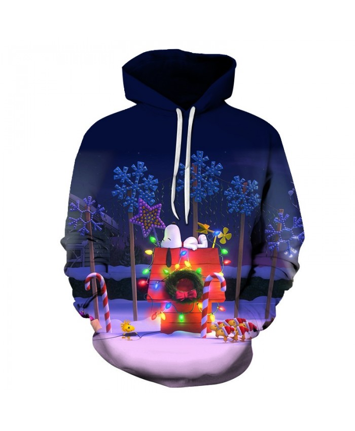 2020 Christmas Casual Fashion Pullover And Zip Pered Hoodies Custom 3d  Christmas Lights And Small Houses Graphic Printed 3d Hoodie  All Over Print Hoodie For Men For Women