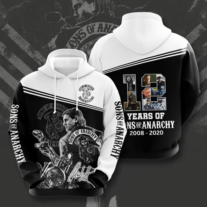 12 Years Of Sons Of Anarchy Signature Pullover And Zippered Hoodies Custom 3d  Graphic Printed 3d Hoodie  All Over Print Hoodie For Men For Women