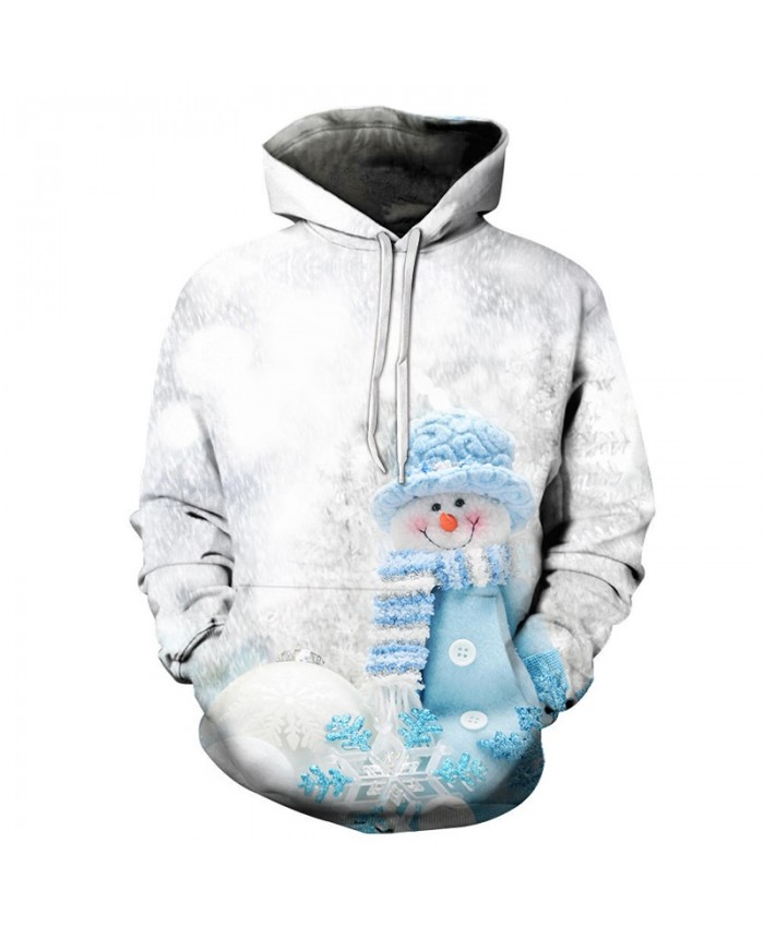 2020 Christmas Casual Fashion Pullover And Zip Pered Hoodies Custom 3d  Christmas Blue Snowman Graphic Printed 3d Hoodie  All Over Print Hoodie For Men For Women