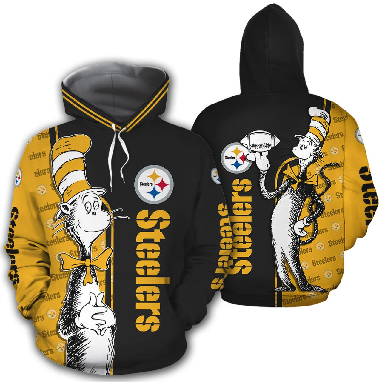 - NFL Pittsburgh Steelers Dr Seuss The Cat in The Hat Men and Women 3D Full Printing Hoodie Zip Hoodie Shirt NFL Pittsburgh Steelers All Over Print 3D Hoodie Shirts