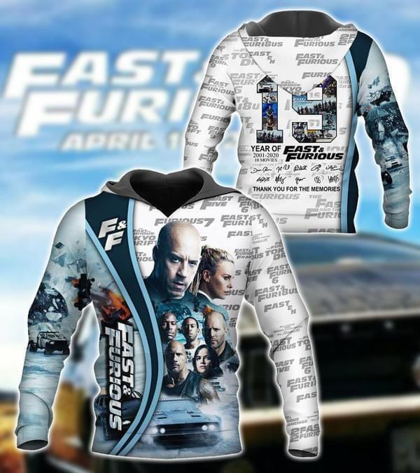 19 Years Of Fast And Furious All Cast Signatures Pullover And Zippered Hoodies Custom 3d  Excavator Volvo Graphic Printed 3d Hoodie  All Over Print Hoodie For Men For Women